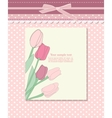 Vintage pink card with tulip vector image