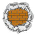 hole and brick wall vector image
