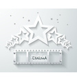 Cinema banner with white paper stars and film tape vector image