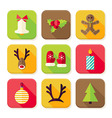 New Year Merry Christmas Square App Icons Set vector image