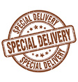 special delivery brown grunge round vintage rubber vector image