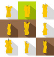 candle flame icon set flat style vector image