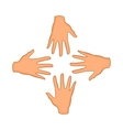 Hands of four people icon cartoon style vector image