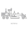 line flat icon construction machinery road vector image