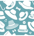 pattern with vintage hats vector image