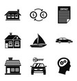 private property icons set simple style vector image
