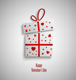 Valentine card with gift and red hearts vector image