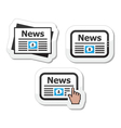 Newpaper news on tablet icons set as labels vector image