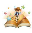 A book with a young cowboy in front of a saloon vector image vector image