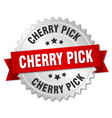 cherry pick round isolated silver badge vector image
