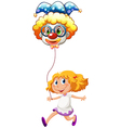 A happy little lady with a clown balloon vector image vector image