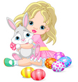 little girl and Easter bunny vector image