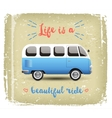 Summer time background with camper van vector image