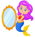 Cartoon funny mermaid swimming holding a classic vector image vector image
