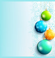 blue new year and christmas background with balls vector image
