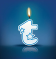 Candle letter t with flame vector image