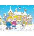 Children walking through a winter town vector image