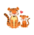Tiger Dad In Bow Tie Animal Parent And Its Baby vector image