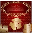 Retro card with autumn leaves and place for text vector image