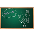 A board with a sketch of two volleyball players vector image vector image