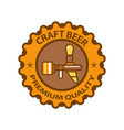 craft beer premium quality logotype design vector image
