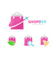 shop and plane logo combination sale vector image