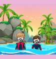 two divers at seaside vector image