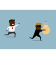 Black businessman chasing thief with idea vector image