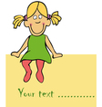 cute funny girl is siting on the card vector image vector image