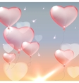 Pink heart balloons vector image