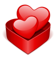 open gift heart with two red hearts vector image