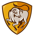angry bull shield vector image