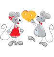 Cute mouses couple vector image vector image