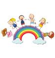 Children standing on the rainbow vector image vector image