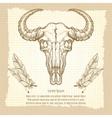 Buffalo skull on vintage background vector image