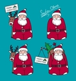 Cartoon Santa Claus with gifts and reindeer vector image