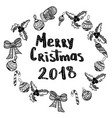 merry christmas 2018 hand drawn design elements vector image