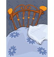 Old bed and pillow vector image