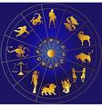 Golden zodiac icons in a circle vector image