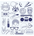 Retro cartoon icons on a squared notebook sheet vector image