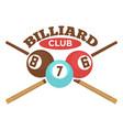 billiard club label template of crossed vector image