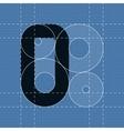 Round engineering font Symbol O vector image