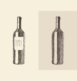 bottle of wine  engraved style vector image