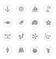 gray flat icon set 9 with circle frame vector image