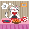 Cat drinking hot tea with sweets and dryers vector image