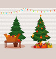 christmas tree with lights and presents vector image