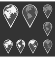 Earth Globe Emblem Map Pointer Set vector image