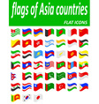 flags of Asia countries flat icons vector image