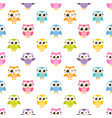 pattern with colorful funny owls vector image