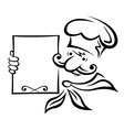 Baker of chef with menu vector image vector image